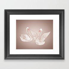 two swans Framed Art Print