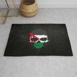 Flag of Jordan on a Chaotic Splatter Skull Rug