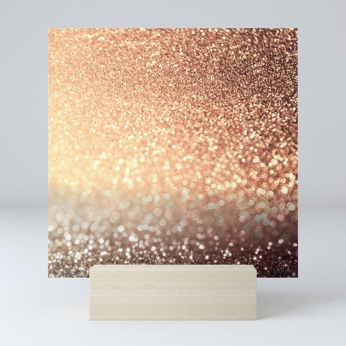 Cozy Copper Espresso Brown Ombre Autumnal Mermaid Glitter Mini Art Print