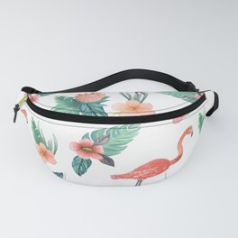 Flamingo Coral Exotic Floral with palms , hibiscus and protea Fanny Pack