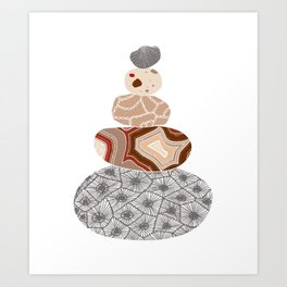 Colored Stack of Great Lakes Rocks Art Print