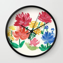 Watercolor flower bed Wall Clock