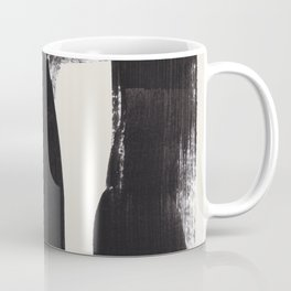 Mid Century Modern Minimalist Abstract Art Brush Strokes Black & White Ink Art Ancient Stripes Coffee Mug