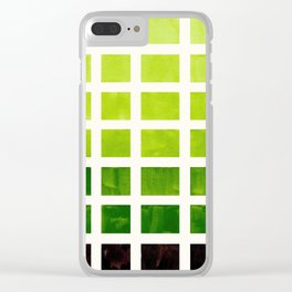 Sap Green Minimalist Mid Century Grid Pattern Staggered Square Matrix Watercolor Painting Clear iPhone Case