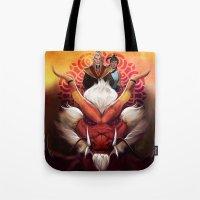 zuko Tote Bags featuring Korra and Zuko by Meder Taab
