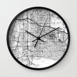 Vintage Map of Long Beach California (1964) BW Wall Clock