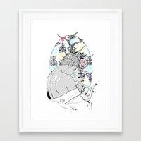 fawn Framed Art Prints featuring Fawn by Cassandra Jean