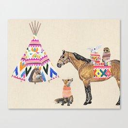 Family with horse, fox, rabbit, owl Canvas Print