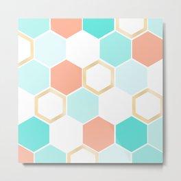 honeycomb coral & blue Metal Print