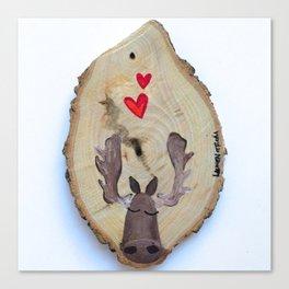 Moose Love Woodcut Canvas Print
