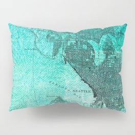 Turquoise Seattle Map Design Pillow Sham