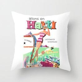 1950 HAITI Underwater Wonderland Travel Poster Throw Pillow