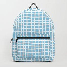 blue random cross hatch lines checker pattern Backpack