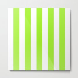Green Lizard - solid color - white vertical lines pattern Metal Print
