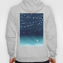 Garlands of stars, watercolor teal ocean Hoody