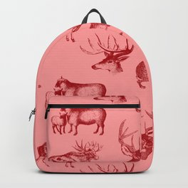 Woodland Critters in Red and Pink Backpack
