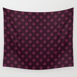 Festive Pink Snowflake Pattern Wall Tapestry
