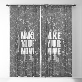Make Your Move Chess Sheer Curtain