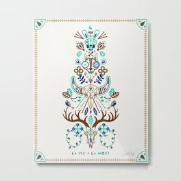 La Vie & La Mort – Turquoise and Brown Metal Print