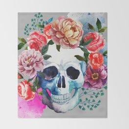 Flower Skull Throw Blanket