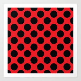 Red with black dots Art Print