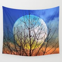 stiles Wall Tapestries featuring The moonwatcher by Pirmin Nohr