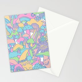 Magical Mushroom World in Kawaii Pastel Stationery Cards