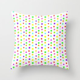Multicolored Spots on White Throw Pillow