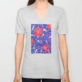 Water Lilies – Indigo & Red Palette Unisex V-Neck