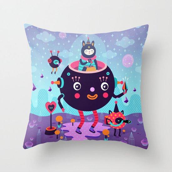 Amigos cósmicos Throw Pillow