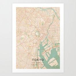 Tokyo, Japan - Vintage Map Art Print