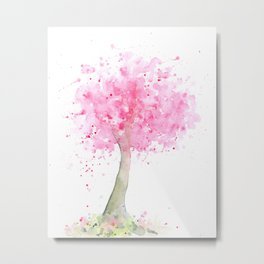 Watercolor Abstract Pink Cherry Tree Metal Print