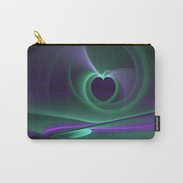 Abstract Heart Fractal, Purple Turquoise Emotions Carry-All Pouch