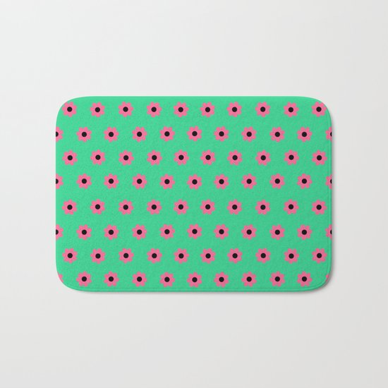 Pink Daisies on Mint Green Bath Mat