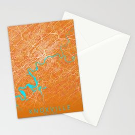 Knoxville, TN, USA, Gold, Blue, City, Map Stationery Cards