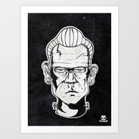 frankenstein Art Prints featuring Frankenstein by Diseños Fofo