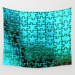Blue puzzle design Wall Tapestry