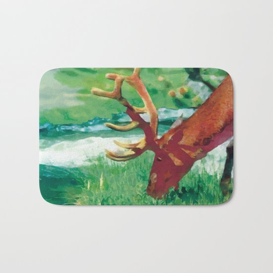Deer on the edge of the forest Bath Mat