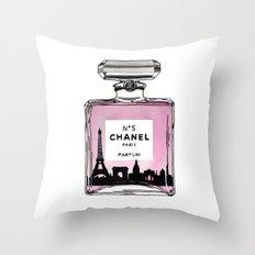 Paris perfume fashion illustration eiffel tower Throw Pillow