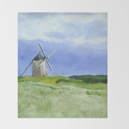 Windmill French Countryside Acrylics On Paper Throw Blanket