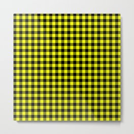 Classic Yellow Country Cottage Summer Buffalo Plaid Metal Print