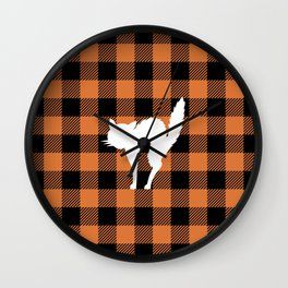 Buffalo Plaid - Scared Cat Wall Clock