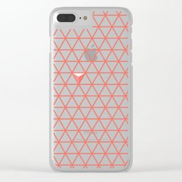 Triangular Grid ~ coral red Clear iPhone Case