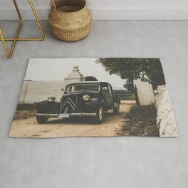 French car, fine art photography, Traction Avant, old auto, classic car, supercar, old car print Rug