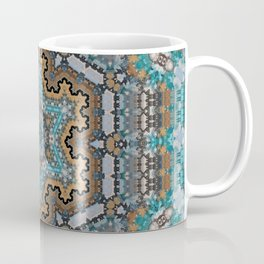 Aqua, Gold and Blue Tile 3 Coffee Mug