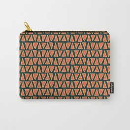 Desert Triangles - Geometric Orange and Blue Pattern Carry-All Pouch