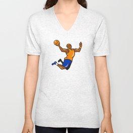 Basketball Player Dunking Ball Cartoon Unisex V-Neck