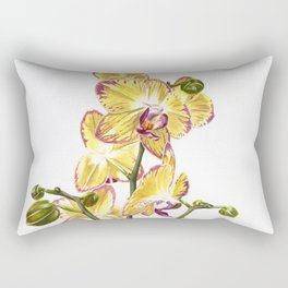 Yellow Phalaenopsis Orchid Traditional Artwork Rectangular Pillow