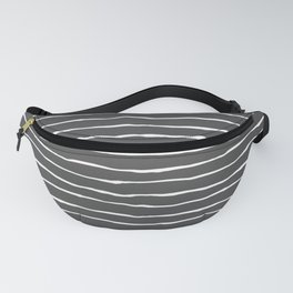 Modern Charcoal and White Stripes Fanny Pack