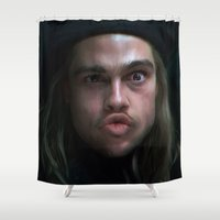 brad pitt Shower Curtains featuring Brad Pitt - 12 Monkeys - Monkey Wrench by Saint Genesis